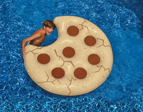 """60"""" Water Sports Inflatable Cookie Shaped Swimming Pool Floating Raft - IMAGE 1"""