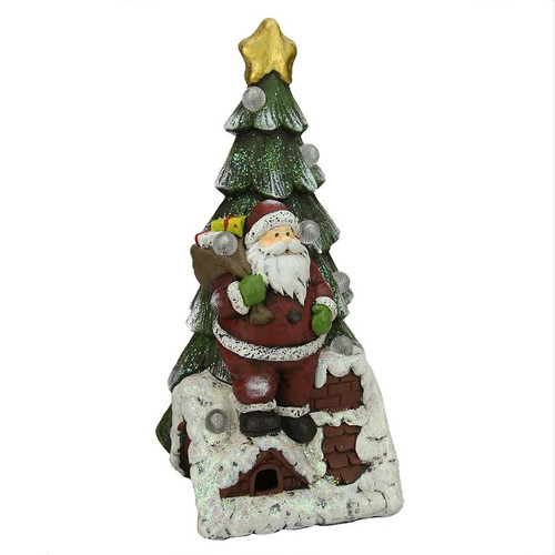 "19.5"" Battery Operated LED Lighted Santa Claus and Christmas Tree Table Top Decoration - IMAGE 1"