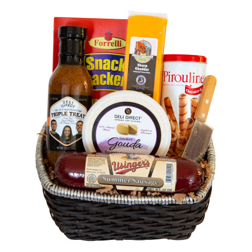 9pc Brown Gourmet Summer Sausage and Cheese Gift Basket - Small - IMAGE 1