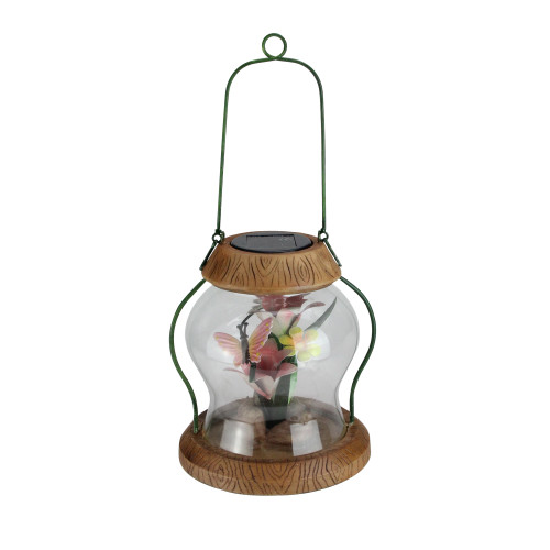 """7"""" LED Lighted Solar Powered Outdoor Garden Lantern with Flowers - IMAGE 1"""