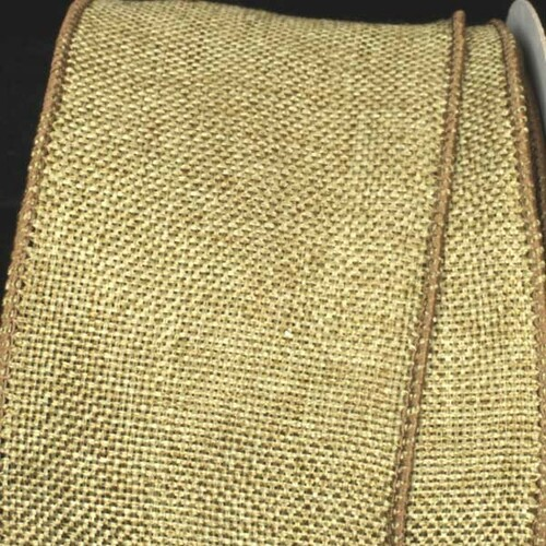 "Green Fine Burlap Wired Craft Ribbon 3"" x 40 Yards - IMAGE 1"