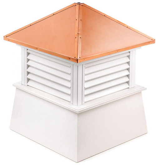 """27"""" White and Brown Manchester Vinyl Cupola with Copper Roof - IMAGE 1"""