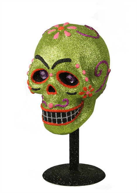 """12"""" Black and Green Day of the Dead Glitter Drenched Skull Halloween Tabletop Decor - IMAGE 1"""