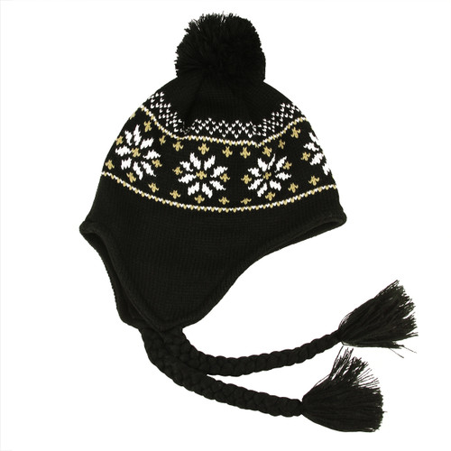 Unisex Black Jacquard Knit Winter Hat with Ear Flaps - One Size - IMAGE 1