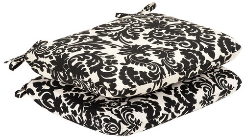 Set of 2 Outdoor Patio Furniture Seat Cushions - Dramatic Black & Cream Damask - IMAGE 1