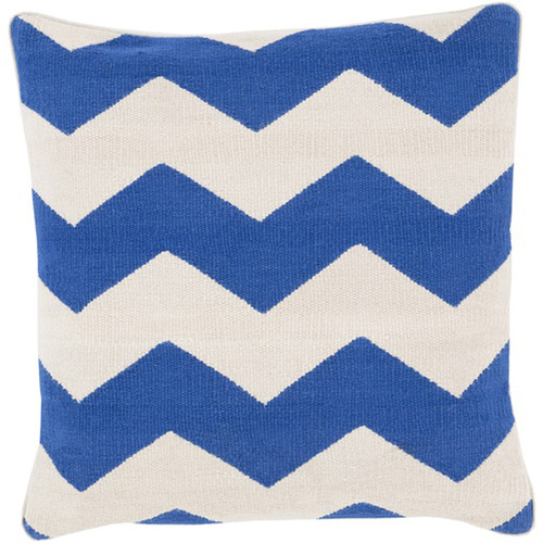 "20"" Blue and Ivory Chevron Striped Square Throw Pillow - Down Filler - IMAGE 1"