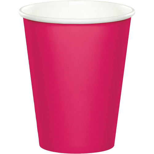 Club Pack of 240 Hot Magenta Pink Disposable Paper Drinking Party Tumbler Cups 9 oz. - IMAGE 1