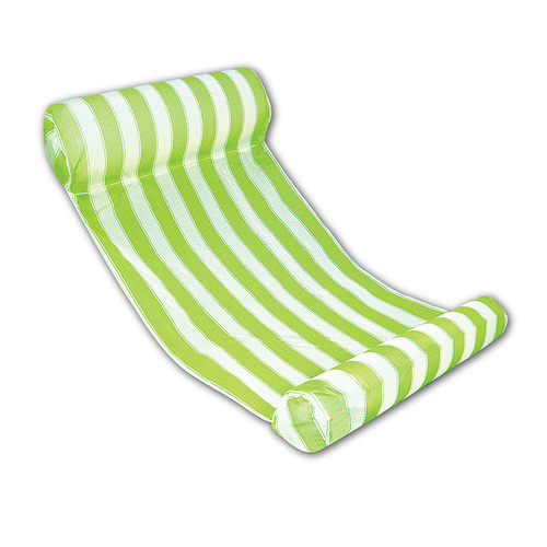Inflatable Green and White Stripped Water Hammock Pool Lounger, 51.75-Inch - IMAGE 1