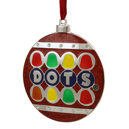 """3.5"""" Silver Plated Dots Candy Logo Christmas Ornament with European Crystals - IMAGE 1"""