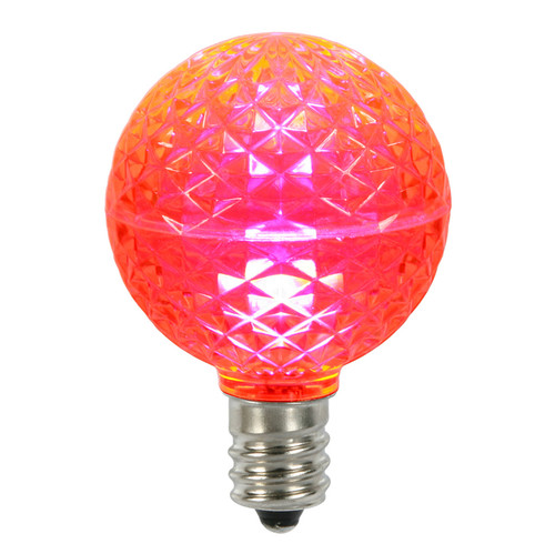 Club Pack of 25 LED G50 Pink Replacement Christmas Light Bulbs - E17 Base - IMAGE 1