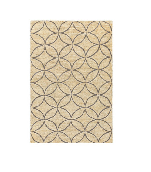 5' x 8' Beige and Slate Gray Geometric Hand Knotted Rectangular Area Throw Rug - IMAGE 1