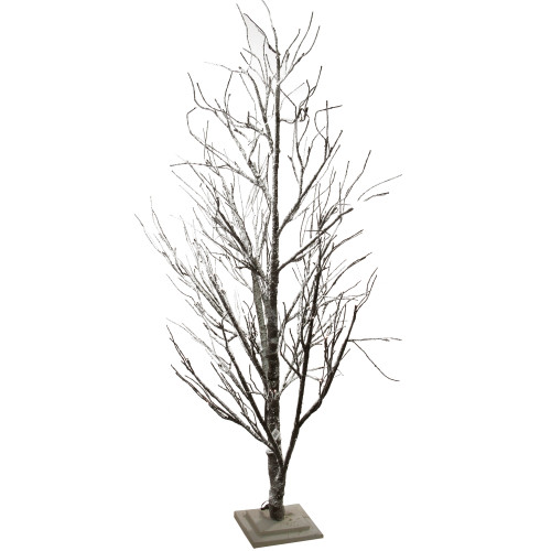 Frosted Slim Christmas Tree: 6' Prelit Slim Brown Frosted Twig Artificial Christmas
