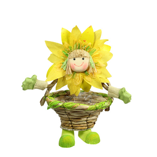 15'' Yellow, Green and Tan Spring Floral Sunflower Girl with Basket Decorative Figure - IMAGE 1