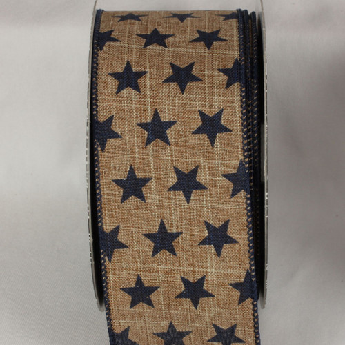 """Brown and Black Star Print Wired Craft Ribbon 2.5"""" x 20 Yards - IMAGE 1"""