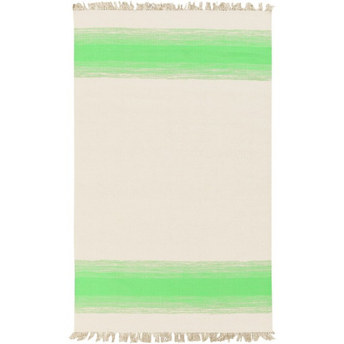 8' x 10' Striped Green and Pale Gray Hand Woven Rectangular Area Throw Rug - IMAGE 1