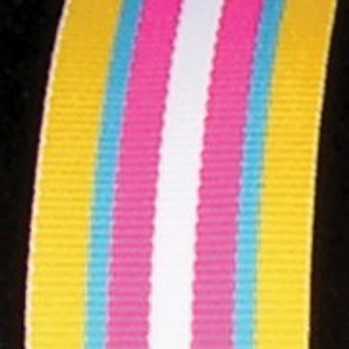 """Yellow and Pink Striped Woven Grosgrain Craft Ribbon 1"""" x 55 Yards - IMAGE 1"""