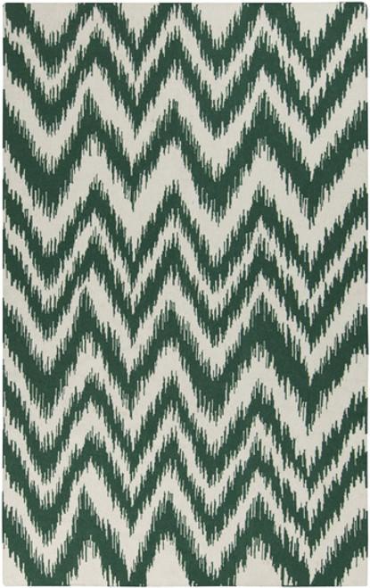 8' x 11' Chevron Green and Cream White Hand Woven Rectangular Wool Area Throw Rug - IMAGE 1