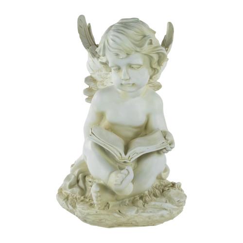 "12"" Ivory Sitting Cherub Angel with Book Outdoor Patio Garden Statue - IMAGE 1"