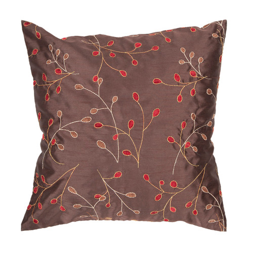 "22"" Brown and Red Embroidered Square Throw Pillow - IMAGE 1"