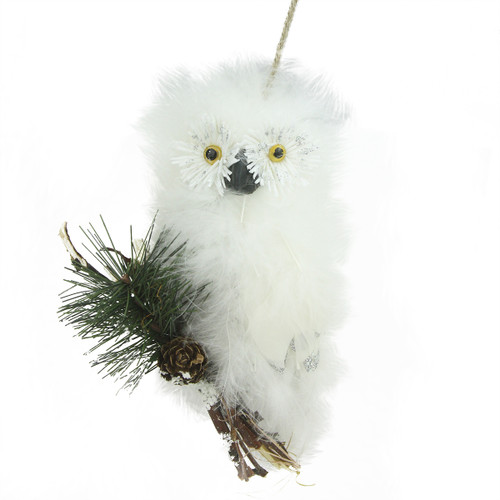 """5.5"""" Snow White Feathered Owl Christmas Ornament - IMAGE 1"""