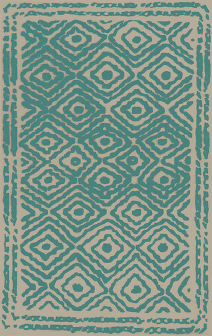 2' x 3' Pale Blue and Beige Hand Knotted Wool Area Throw Rug - IMAGE 1