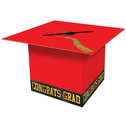 """Pack of 6 Red Graduation Cap """"Congrats Grad"""" Party Gift Card Boxes 8.5"""" - IMAGE 1"""