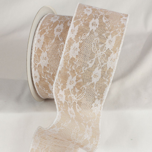 """Brown and White Floral Print Lace Craft Ribbon 4"""" x 20 Yards - IMAGE 1"""
