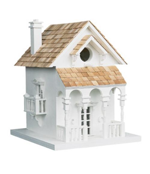 """11"""" White and Brown European Villa Inspired Outdoor Garden Birdhouse - IMAGE 1"""