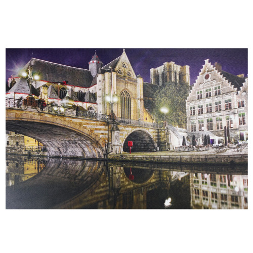 """LED Lighted Famous St. Michael's Bridge and Church in Ghent, Belgium Canvas Wall Art 15.75"""" x 23.5"""" - IMAGE 1"""