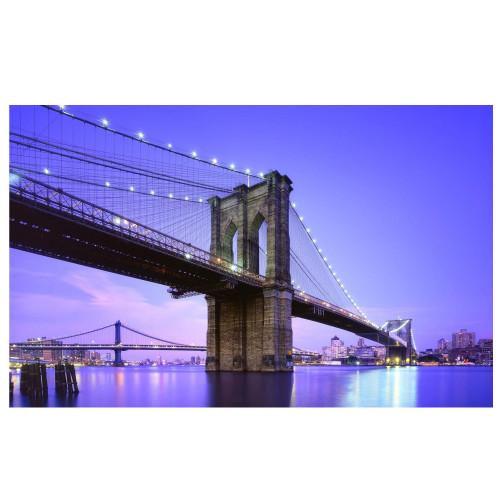 "LED Lighted Famous New York City Brooklyn Bridge Canvas Wall Art 15.75"" x 23.5"" - IMAGE 1"