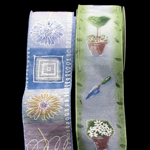 "Blue and White Floral Garden Deli Print Wired Craft Ribbon 2.5"" x 20 Yards - IMAGE 1"