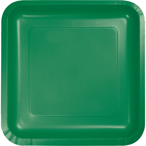 """9"""" Pack of 180 Emerald Green Premium Disposable Paper Party Dinner Plates - IMAGE 1"""
