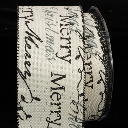 """Black and White Holiday Script Wired Craft Ribbon 2.5"""" x 40 Yards - IMAGE 1"""