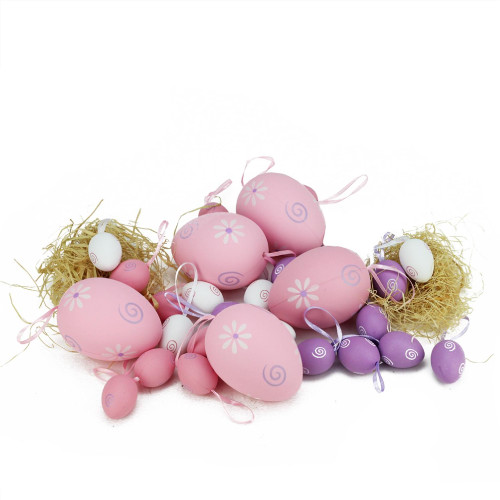 "Set of 29 Pastel Pink and Purple Painted Floral Spring Easter Egg Ornaments 3.25"" - IMAGE 1"