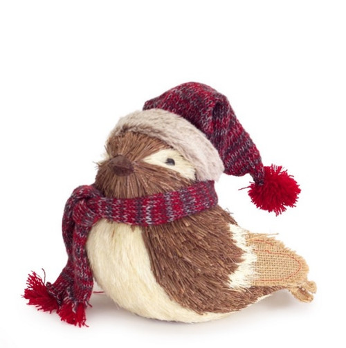 """9"""" Alpine Chic Decorative Brown and Cream Bird with Snow Hat and Scarf Christmas Table Top Decoration - IMAGE 1"""