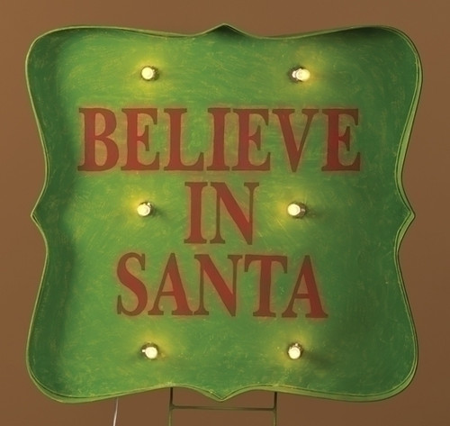 "31"" Lighted ""Believe in Santa"" Christmas sign Outdoor Decoration - IMAGE 1"