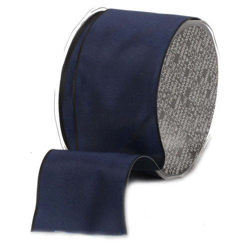 "Navy Blue and Black Solid Wired Craft Ribbon 2.5"" x 27 Yards - IMAGE 1"