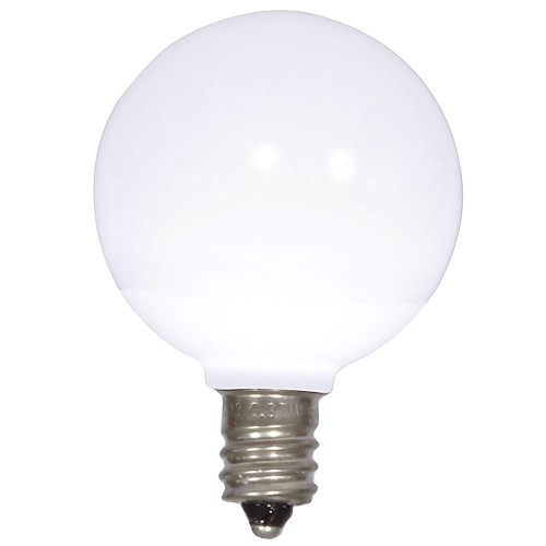 Pack of 25 Pure White Ceramic LED G40 Christmas Replacement Bulbs - IMAGE 1