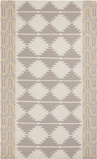 2' x 3' Jagged Pyramids Gray and Beige Hand Woven Rectangular Wool Area Throw Rug - IMAGE 1