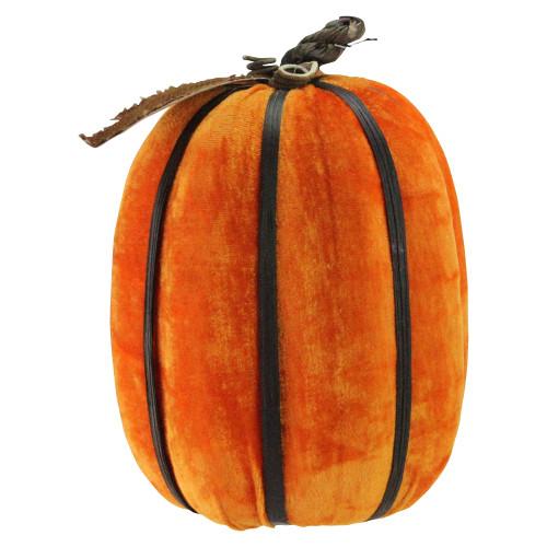 "12.5"" Orange Autumn Pumpkin with Bamboo Ribs Halloween Tabletop Decor - IMAGE 1"