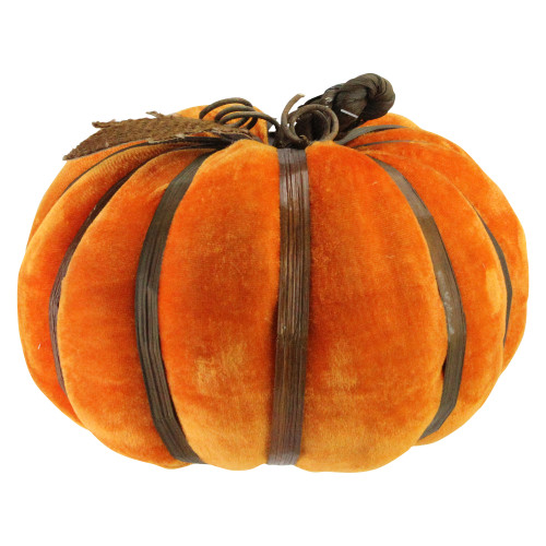 """8.5"""" Orange and Brown Autumn Pumpkin with Bamboo Ribs Halloween Tabletop Decor - IMAGE 1"""