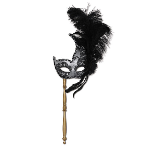 Set of 12 Silver and Black Glitter Feathered Mardi Gras Masquerade Masks - IMAGE 1
