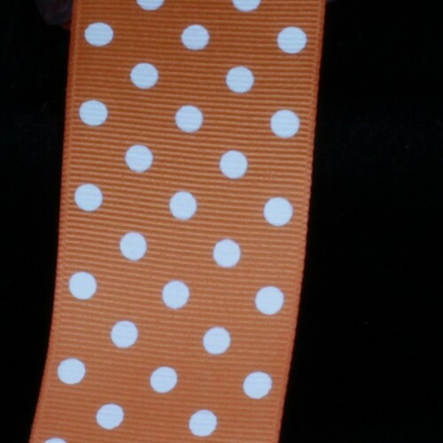"Orange and White Polka Dotted Grosgrain Craft Ribbon 1.5"" x 88 Yards - IMAGE 1"