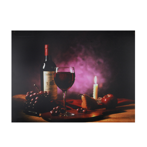 """Purple LED Lighted Flickering Wine and Candle Wall Art 11.75"""" x 15.75"""" - IMAGE 1"""