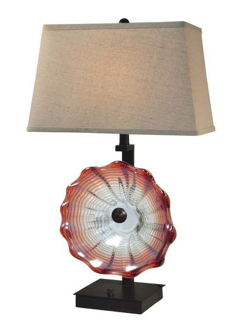 """28.5"""" Beige and Red Titan Hand Crafted Glass Accent Table Lamp - IMAGE 1"""
