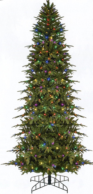 9' Pre-Lit Slim Palisade Artificial Christmas Tree - Multi-Color LED Lights - IMAGE 1