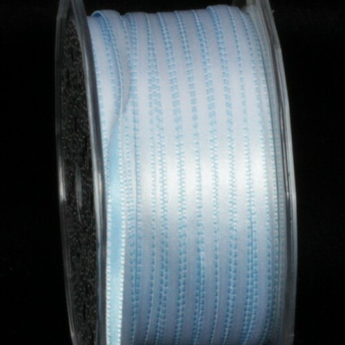 "Blue Double Sided Craft Ribbon with Stitch Edge 0.25"" x 220 Yards - IMAGE 1"