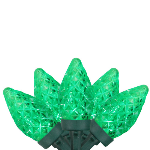 50 Green Faceted LED C7 Christmas Lights - 16 ft Green Wire - IMAGE 1