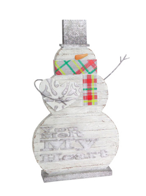 """18.25"""" White and Gray Carved Snowman Christmas Figurine - IMAGE 1"""
