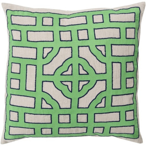 """18"""" Mint Green and Beige Throw Pillow - Down Filler - IMAGE 1"""